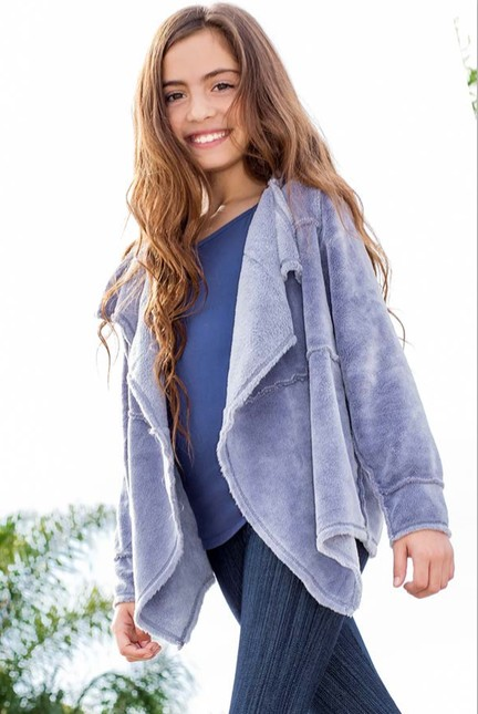 Ragdoll & Rockets Girls Grey Blue Sherpa Jacket Cardi