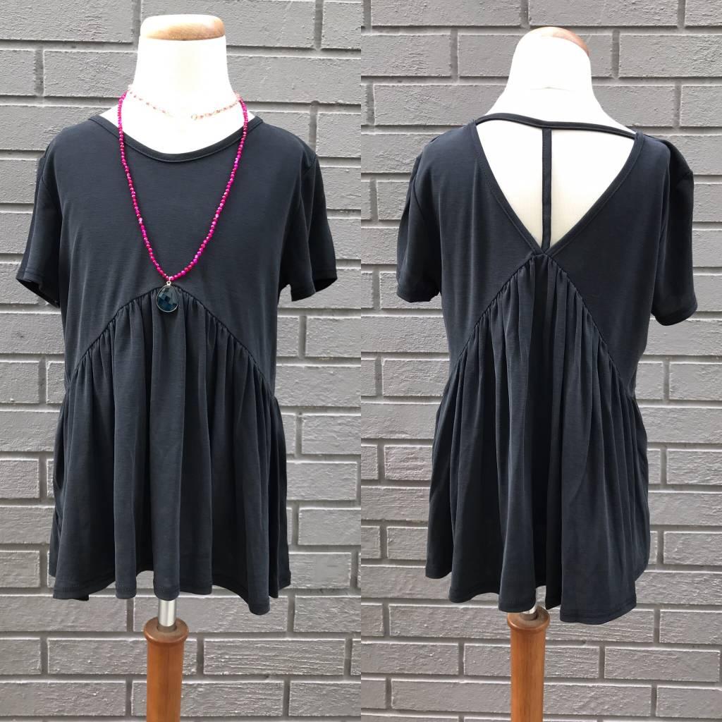 For All Seasons Black T-back Short Sleeve Top