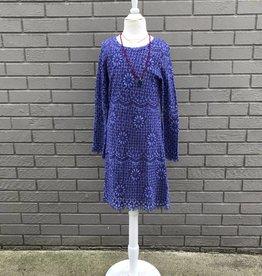 Ragdoll & Rockets Girls Scoop Back Crochet Dress Blue