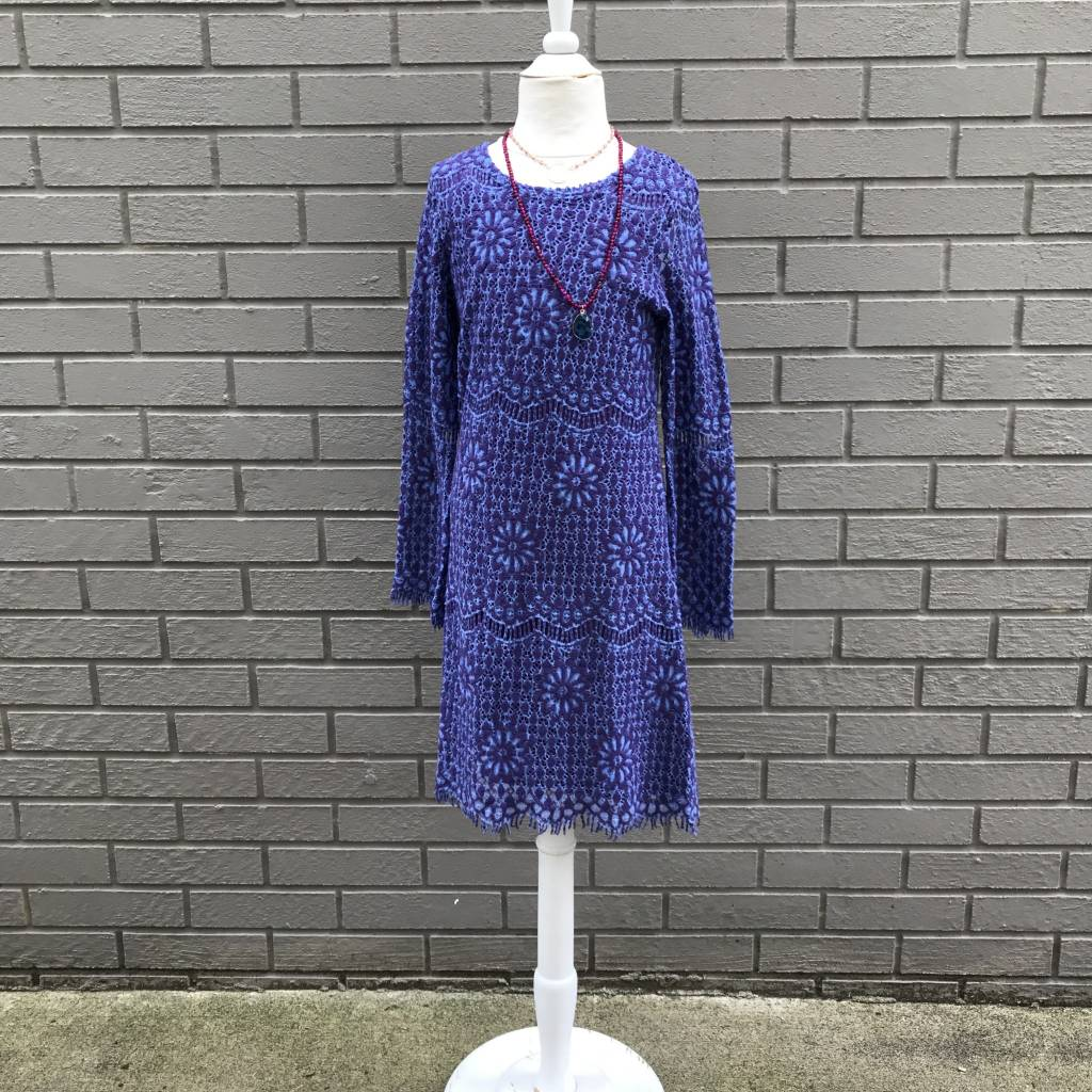 Ragdoll & Rockets Girls Scoop Back Crochet Dress Blue