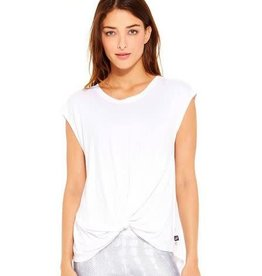 Terez Terez White Cap Sleeve Twist Front Top