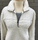 Dylan Solid Frosty Tipped Stadium Pullover Ivory