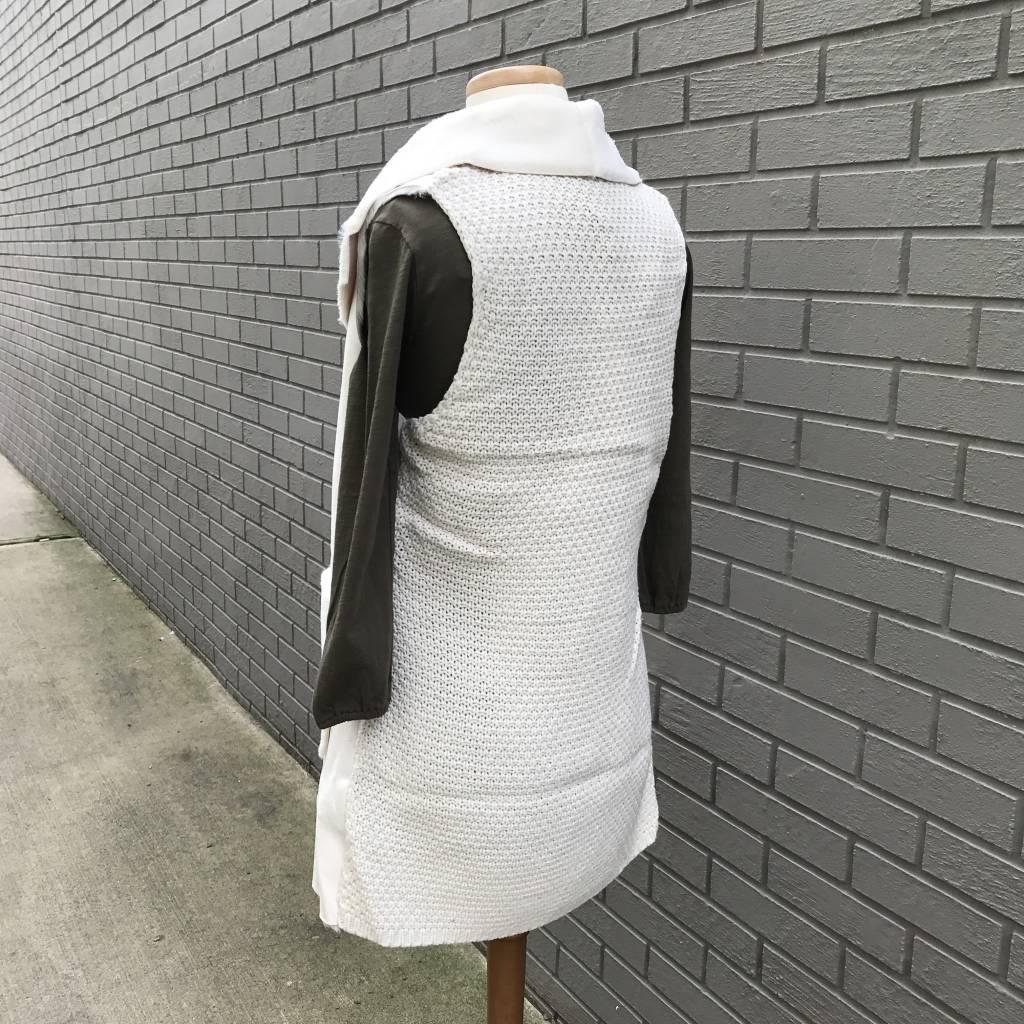 Love Token Andrea Faux Fur Long Vest Ivory