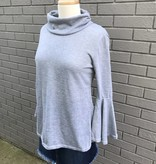 Haute Rogue Grey Bell Sleeve Open Back Sweater