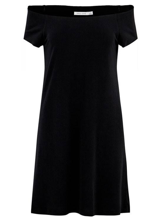 Adelyn Rae Bare Shoulder Burgundy Dress