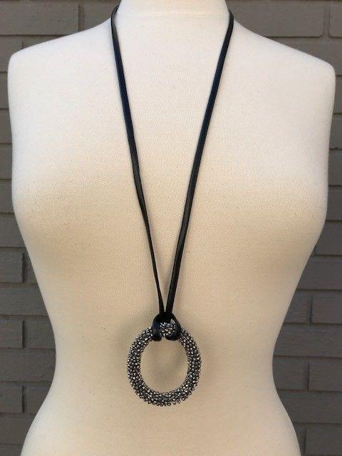 Jamie Rocks 8321 Crystal Oval on Leather Necklace