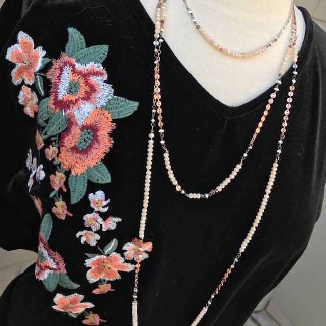 THML Black Velvet Floral Embroidered Top