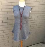 THML Grey Sleeveless Fringe Trim Sweater
