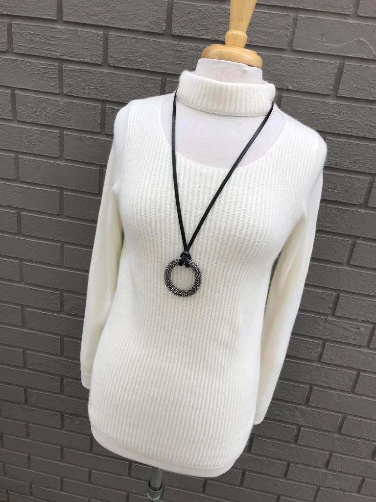 Cashmere Blend Cream Choker Sweater