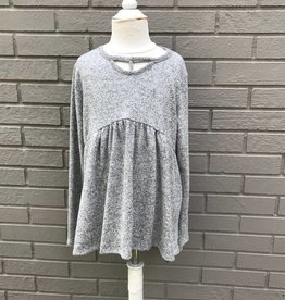 For All Seasons L/S Brushed V-neck Top Heather Grey #1067