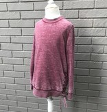 For All Seasons L/S Sweater w Lace Up Detail Purple #1129