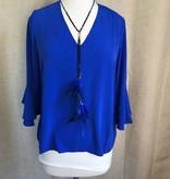 Royal Blue V-neck Bell Sleeve Blouse