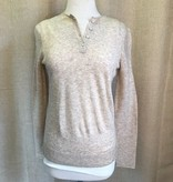 Oatmeal Henley Pullover Sweater