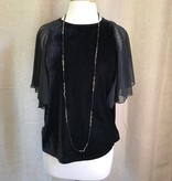 THML Ruffle Sleeve Velvet Top Black