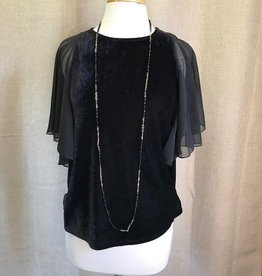 THML Ruffle Sleeve Velvet Top Black