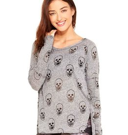 Terez Long Sleeve Skull Burnout Tee Grey