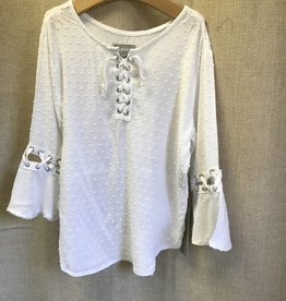 Tractr White Swiss Dot Girls Top