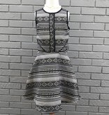 Miss Behave Kate Black Gold Geometric Pattern Dress