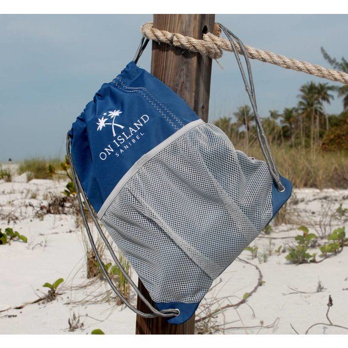 Sail Cloth Draw String Backpack in Blue with Grey