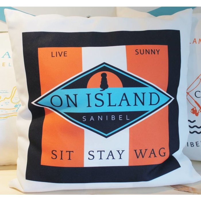 Sit Stay Wag Diamond Throw Pillow