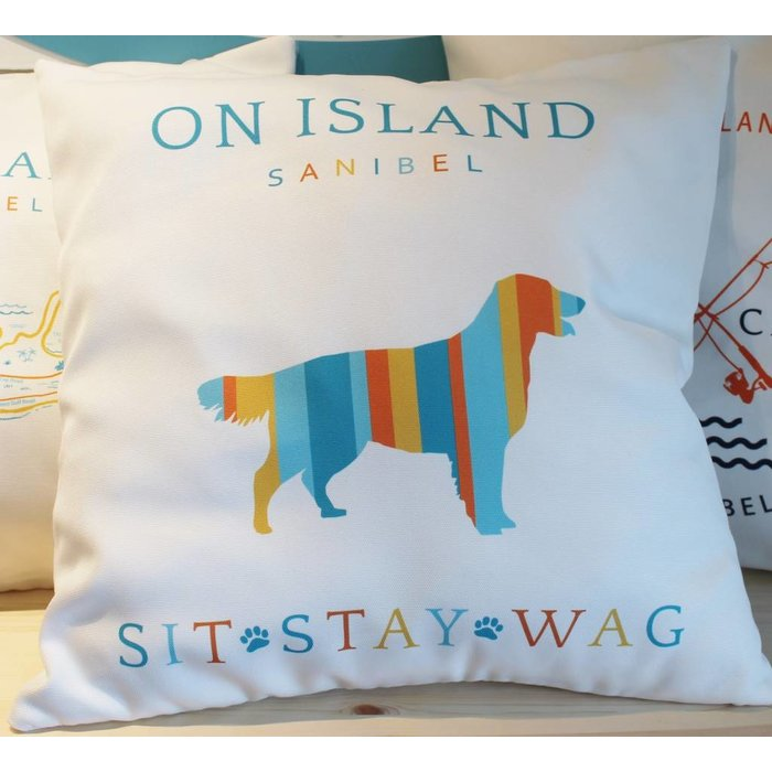 Sit Stay Wag Throw Pillow
