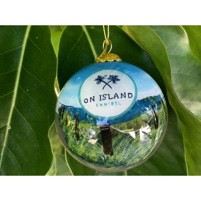 On Island Hand Painted Glass Ornament