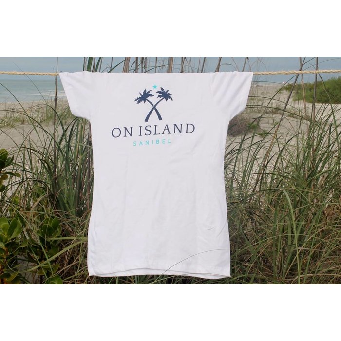 On Island Ladies White Crew Neck Semi-Fitted Tee