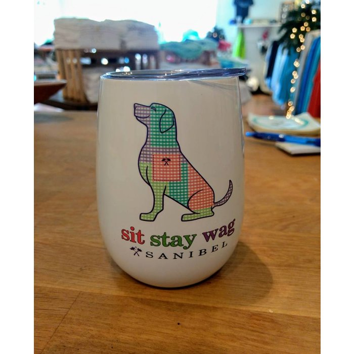 Sit Stay Wag insulated wine cup with lid