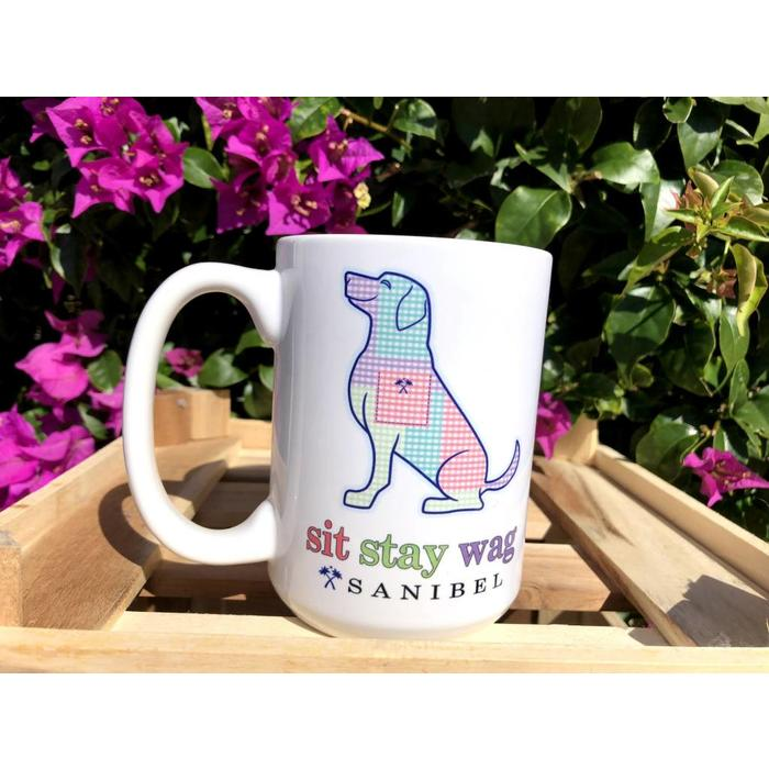 Sit Stay Wag Gingham Dog Coffee Mug