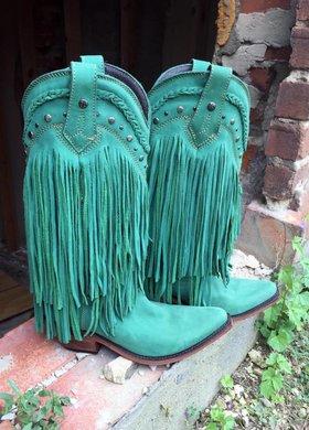 LIberty Black Turquoise Fringe Boot
