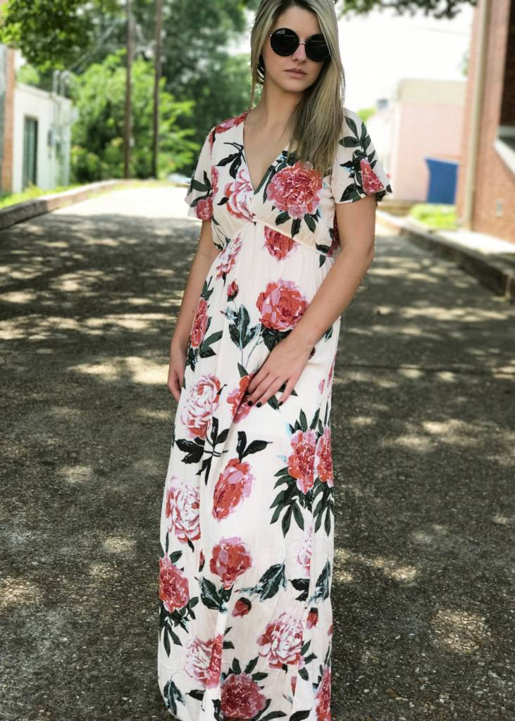 Flutter Floral Maxi In Blush