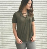 The Suede Lace Up Tee in Rosin