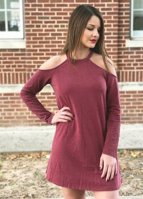 The Cold Shoulder Dress in Ruby