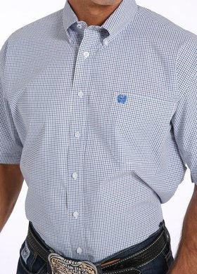 Cinch Short Sleeve Tiny Blue Plaid