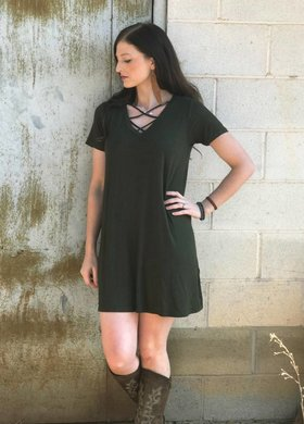 The Cross Front Tee Dress in Rosin