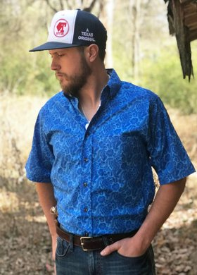Tuf Cooper Short Sleeve Royal Paisley Print