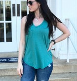 Diamond T Outfitters The Pocket Racer Tank Aqua Bay