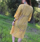 Diamond T Outfitters Boho Lace Kimono in Mustard