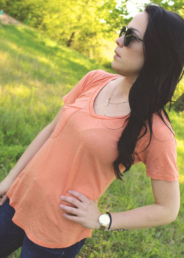 The Pocket Tee in Coral Rose