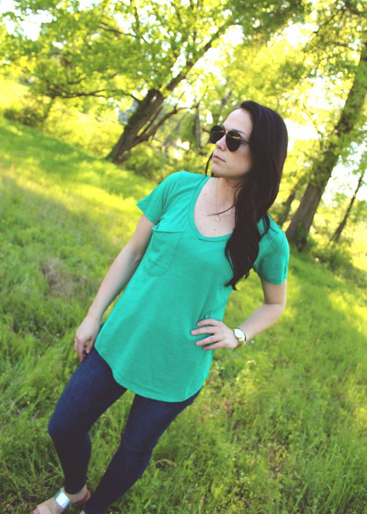 Diamond T Outfitters The Pocket Tee in Paradise Green