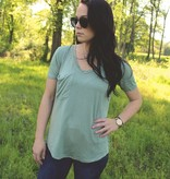 Z Supply The Sleek Jersey Pocket Tee in Pale Sage