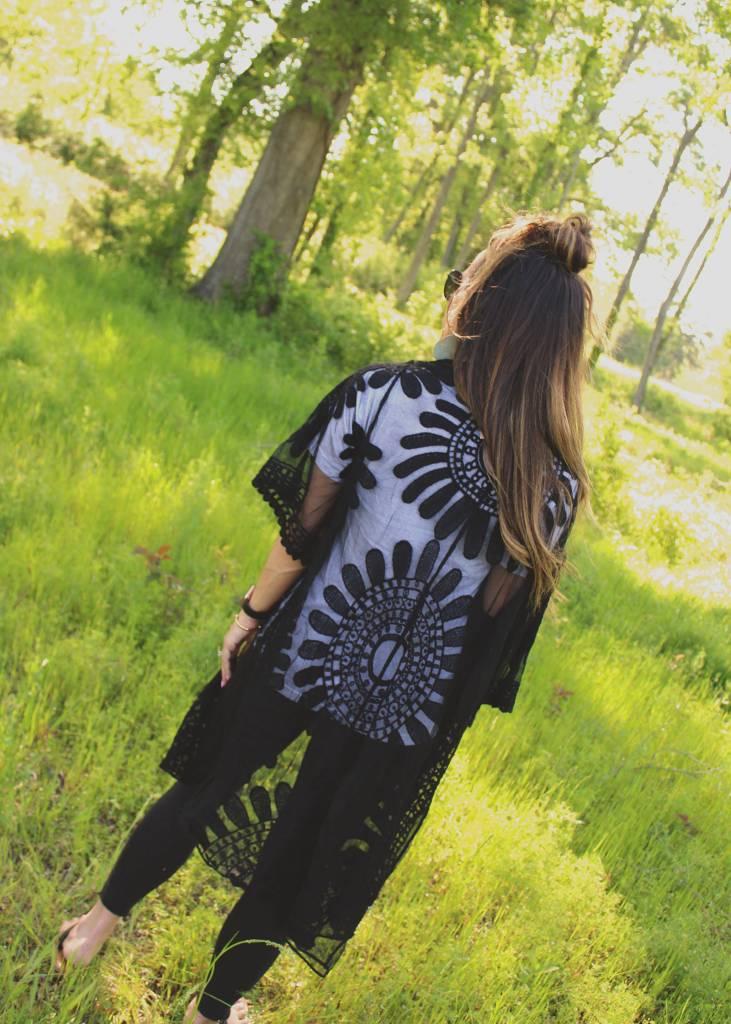 Boho Lace Kimono in Black