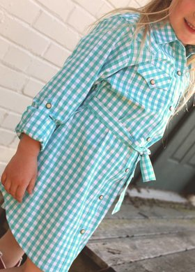 Turquoise Gingham Dress