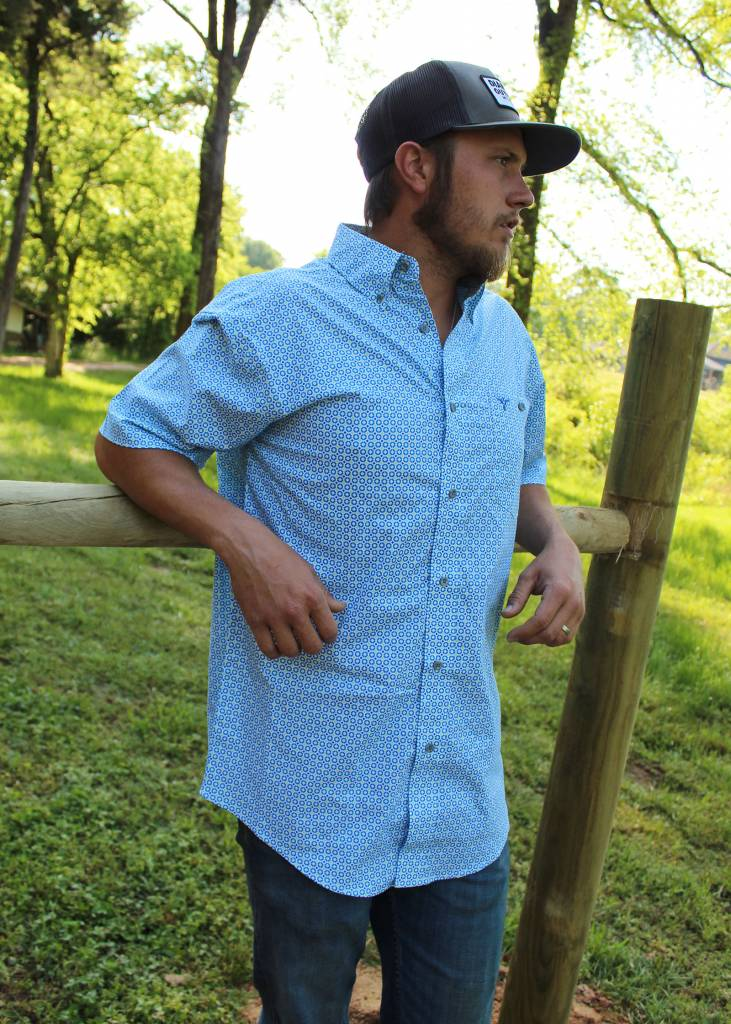 Wrangler® 20X® Competition Advanced Comfort Blue Mosaic Shirt