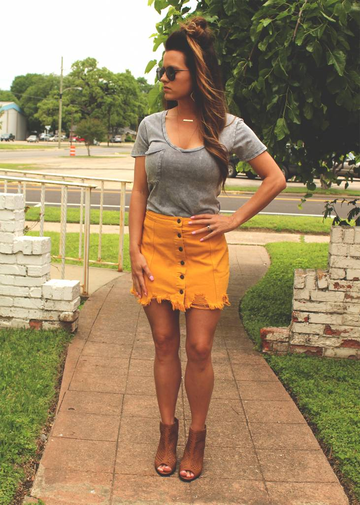Mustard Mini Skirt
