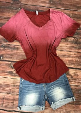 Z Supply Ombre V Neck in Red