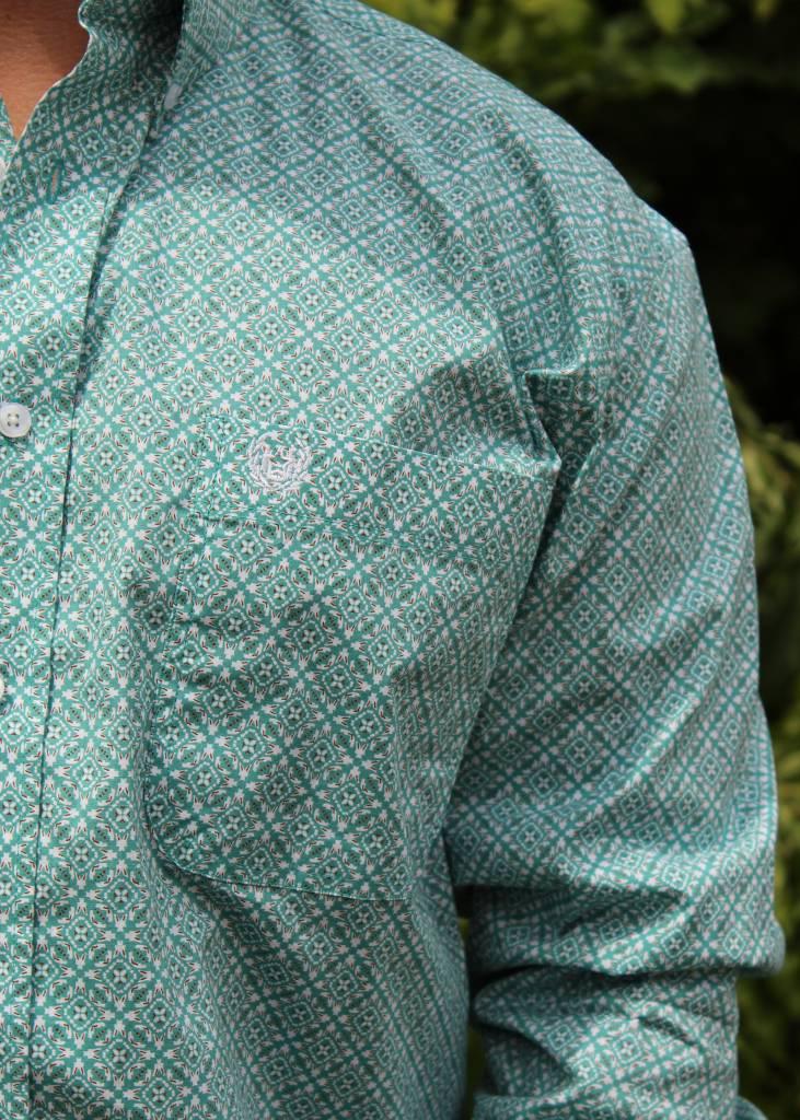 Panhandle Slim Roughstock Aqua Medallion Long Sleeve