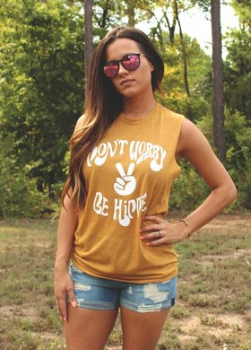 Diamond T Outfitters Don't Worry Be Hippie Tank