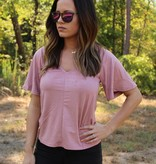 Z Supply The Suede Flutter Tee in Pink Dust