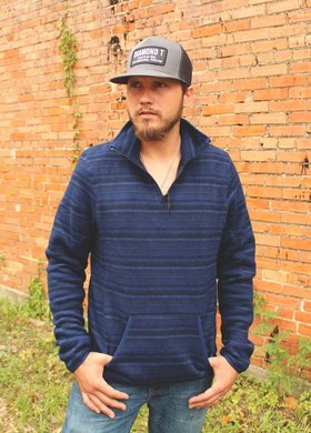 Panhandle Slim Blue & Black Stripe Fleece Pullover